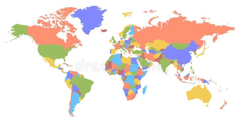 Mapa do continente e do país da cor mapa político ilustração do vetor