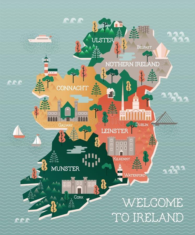 Mapa do curso da Irlanda com marcos e cidades ilustração do vetor
