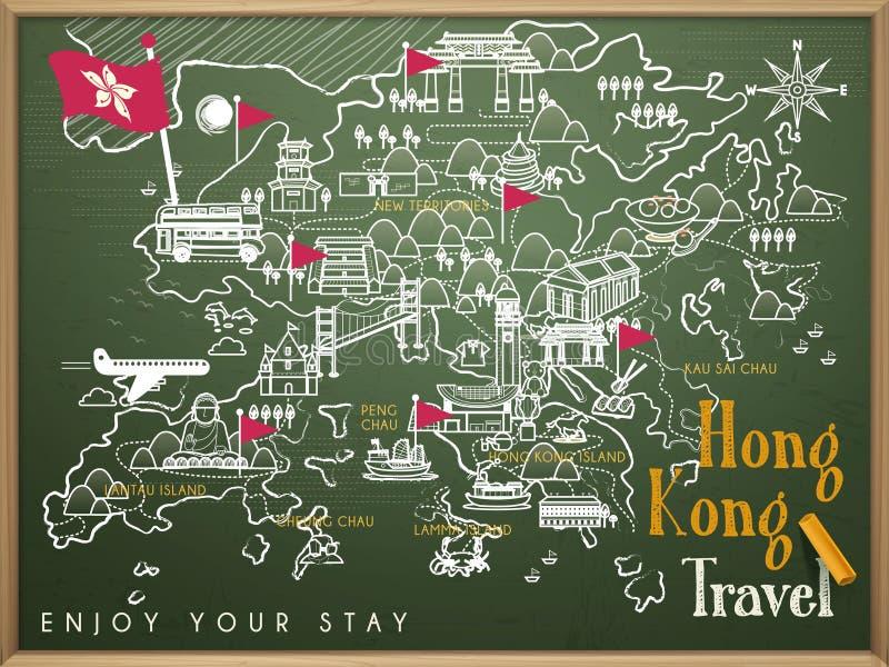Mapa do curso de Hong Kong ilustração stock