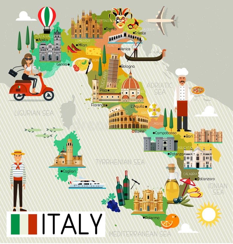 Mapa do curso de Itália ilustração stock