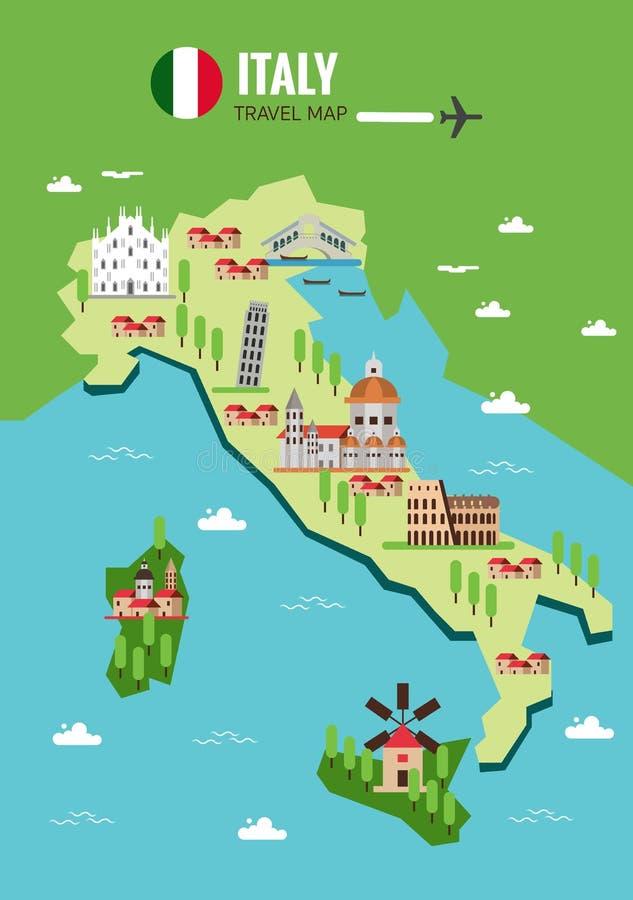 Mapa do curso de Itália, italiano Colosseum, Milão, Veneza Ilhas de Sicilia e de Sardinia ilustração royalty free