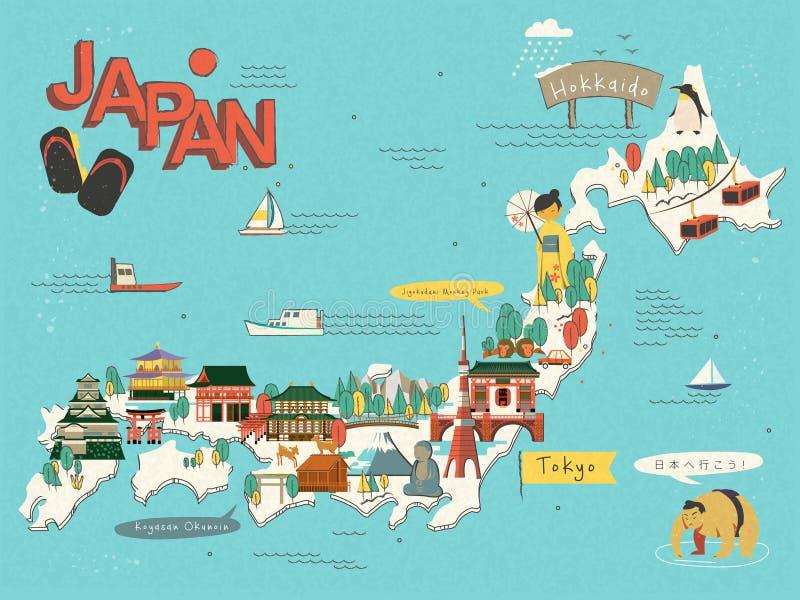 Mapa do curso de Japão ilustração royalty free