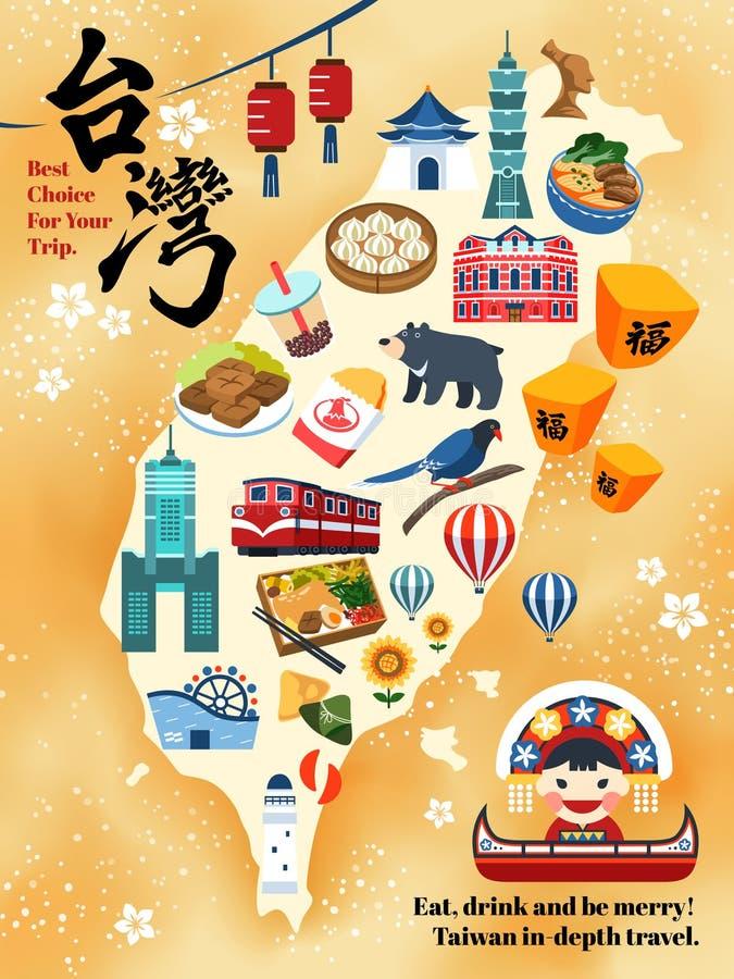 Mapa do curso de Taiwan ilustração royalty free