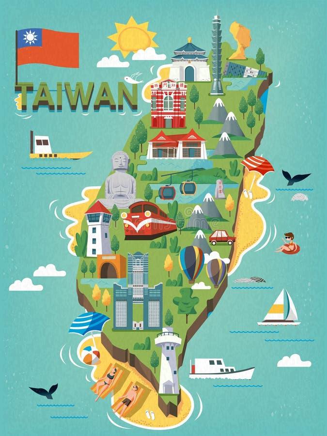 Mapa do curso de Taiwan ilustração stock