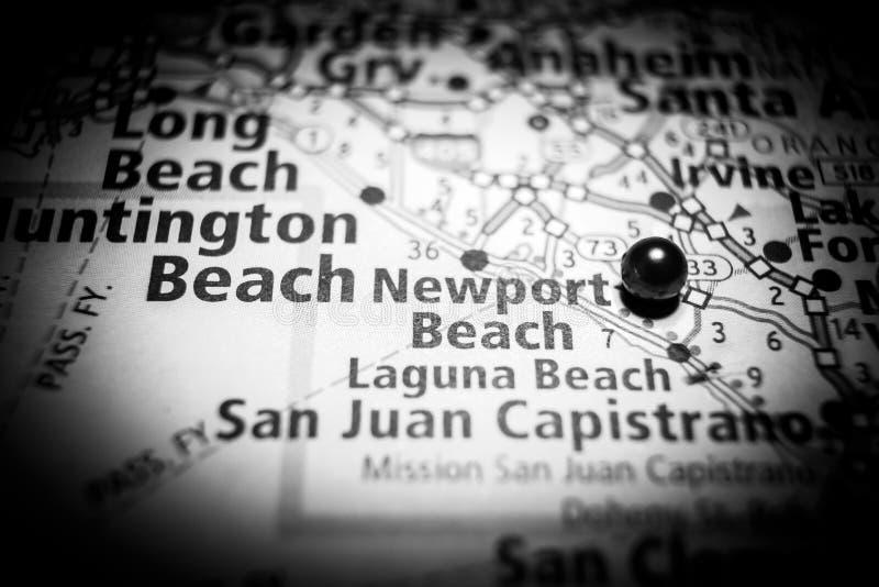 Mapa do destino do curso de Califórnia da praia de Newport fotografia de stock