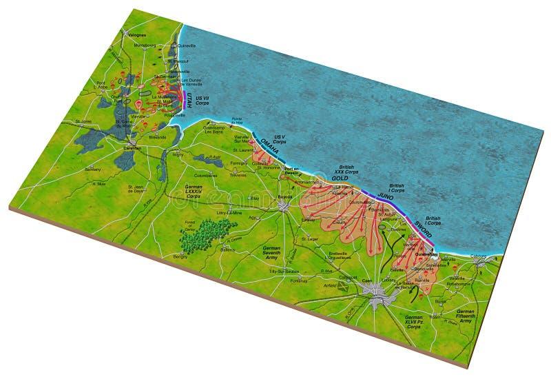 Mapa do dia D ilustração do vetor