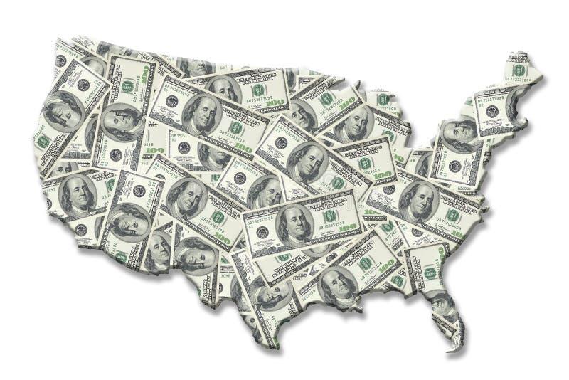 Mapa do dinheiro dos EUA ilustração do vetor