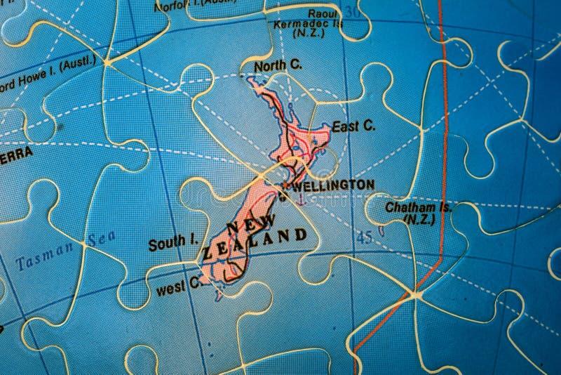 Mapa do enigma de Nova Zelândia fotografia de stock