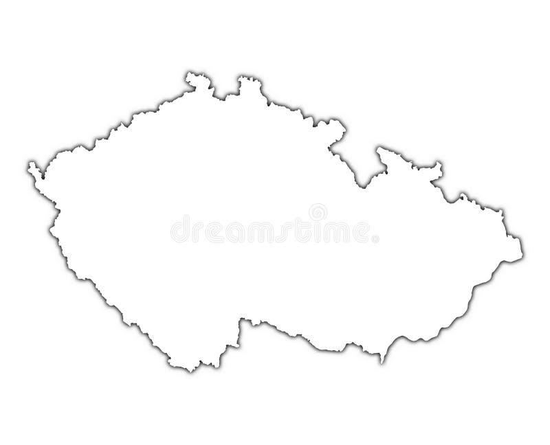 Mapa do esboço da república checa ilustração stock