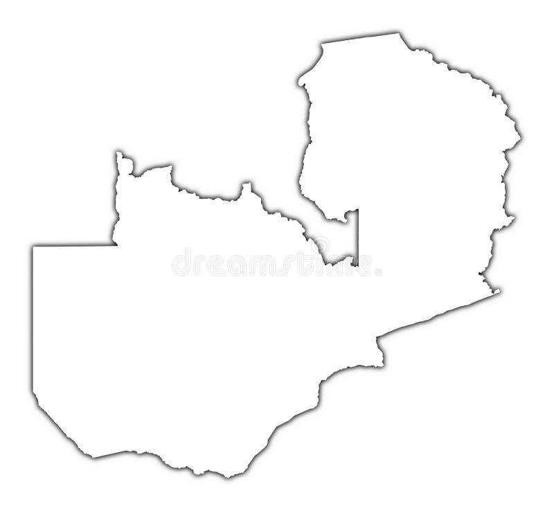 Mapa do esboço da Zâmbia ilustração royalty free