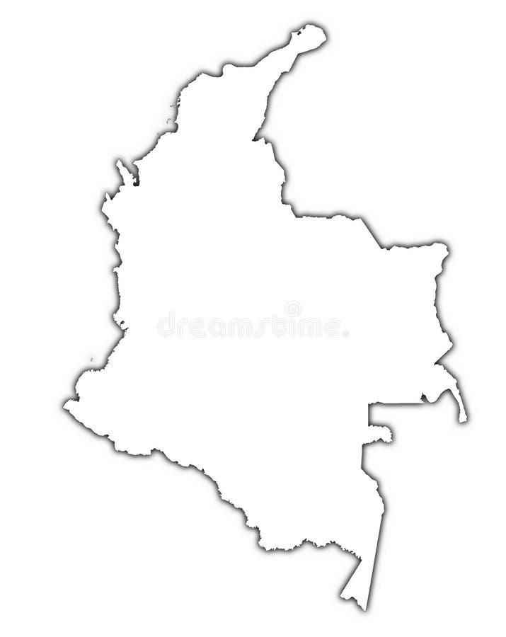 Mapa do esboço de Colômbia ilustração royalty free