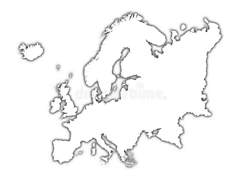 Mapa do esboço de Europa com sombra ilustração stock