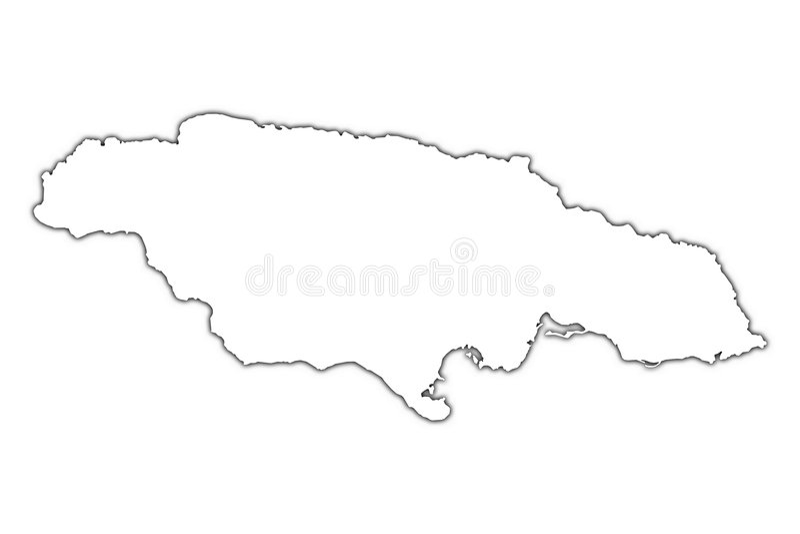 Mapa do esboço de Jamaica ilustração royalty free