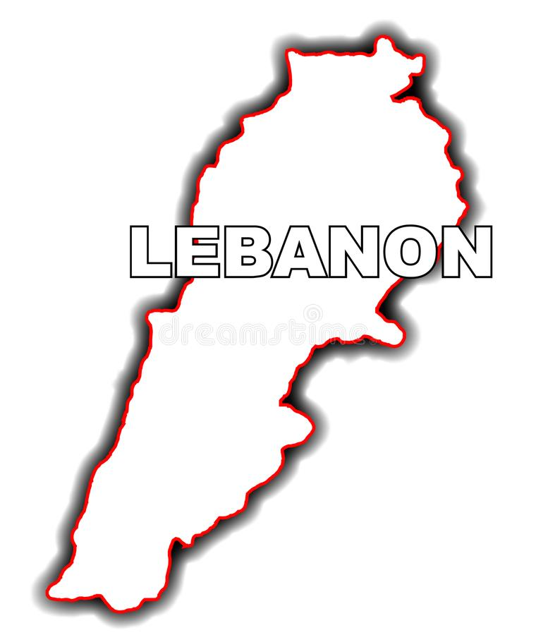 Mapa do esboço de Líbano ilustração royalty free