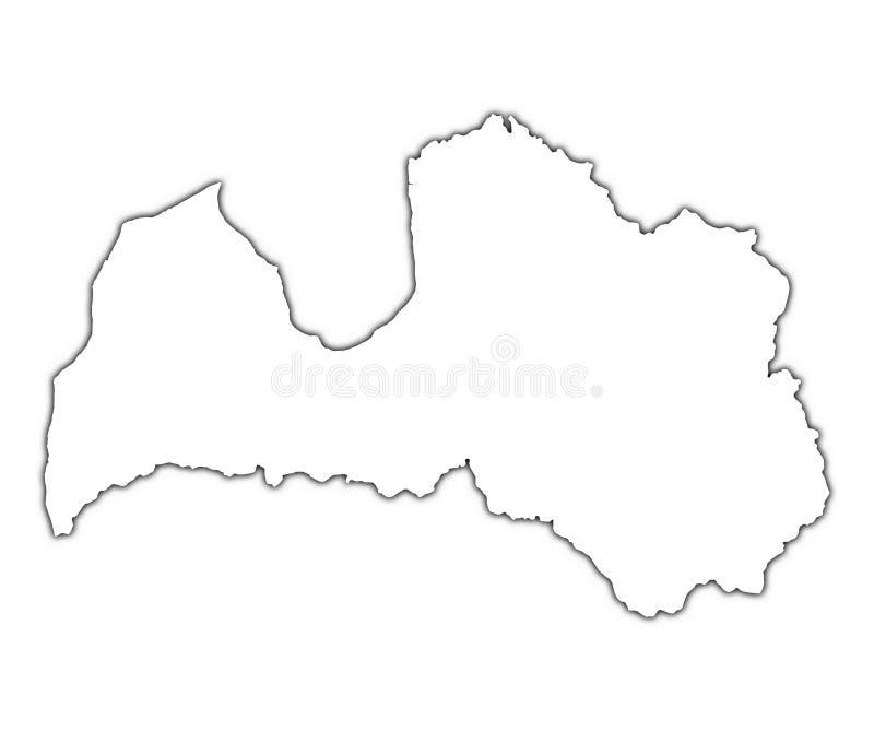 Mapa do esboço de Latvia ilustração royalty free
