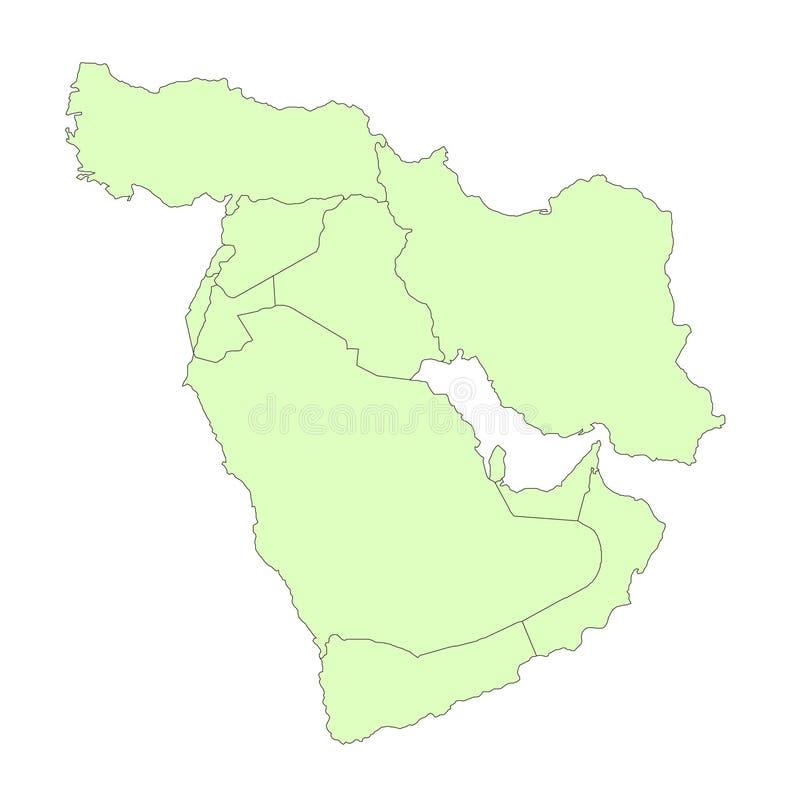 Mapa do esboço de Médio Oriente ilustração do vetor