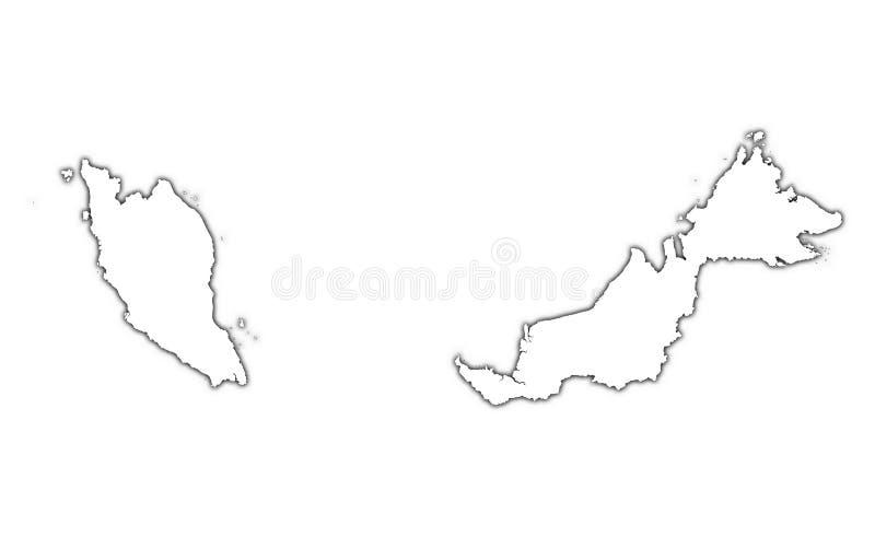 Mapa do esboço de Malaysia ilustração stock