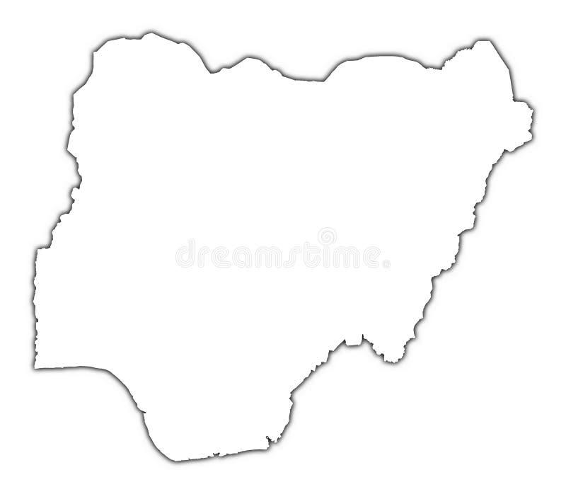 Mapa do esboço de Nigéria ilustração royalty free
