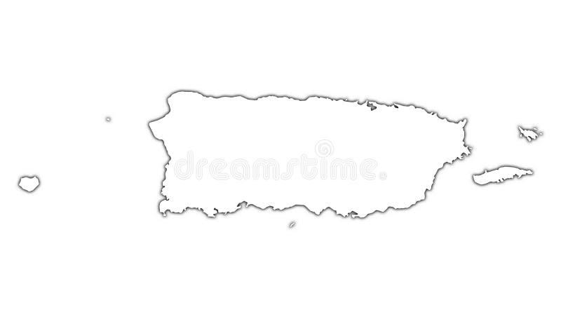 Mapa do esboço de Puerto Rico ilustração royalty free