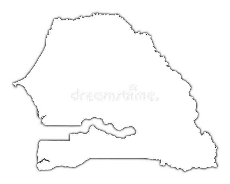 Mapa do esboço de Senegal ilustração do vetor