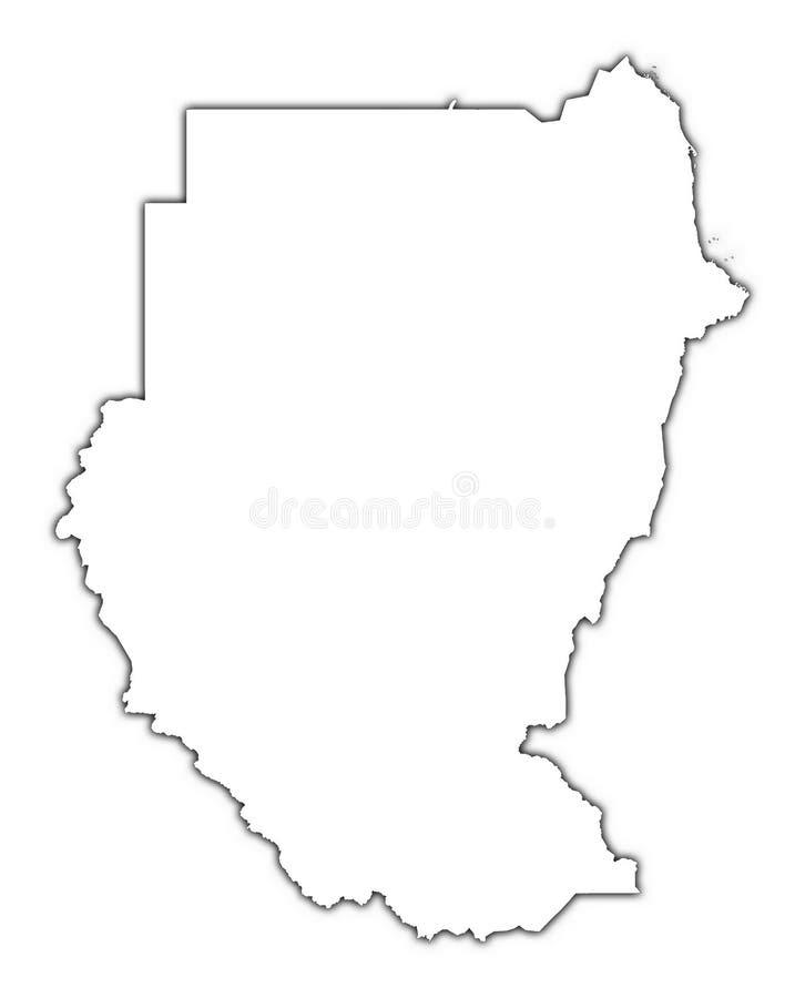 Mapa do esboço de Sudão ilustração stock