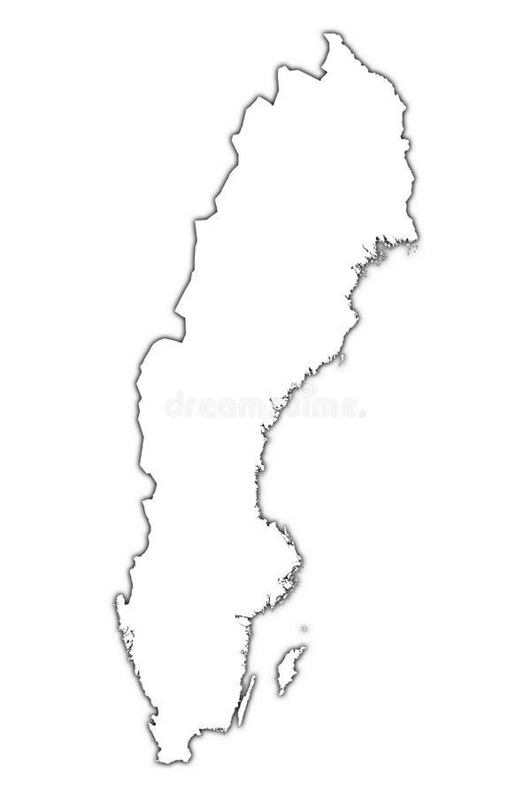 Mapa do esboço de Sweden com sombra ilustração do vetor
