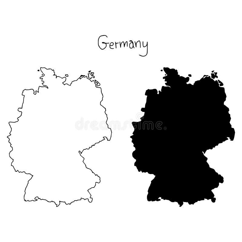 Mapa do esboço e da silhueta de Alemanha - vector a mão da ilustração ilustração stock