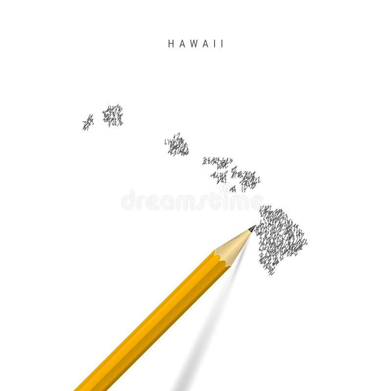 Mapa do esboço do Havaí isolado em fundo branco Mapa vetorial desenhado à mão do Havaí ilustração royalty free