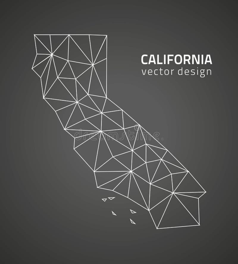 Mapa do esboço do mosaico do triângulo do preto do vetor de Califórnia ilustração do vetor