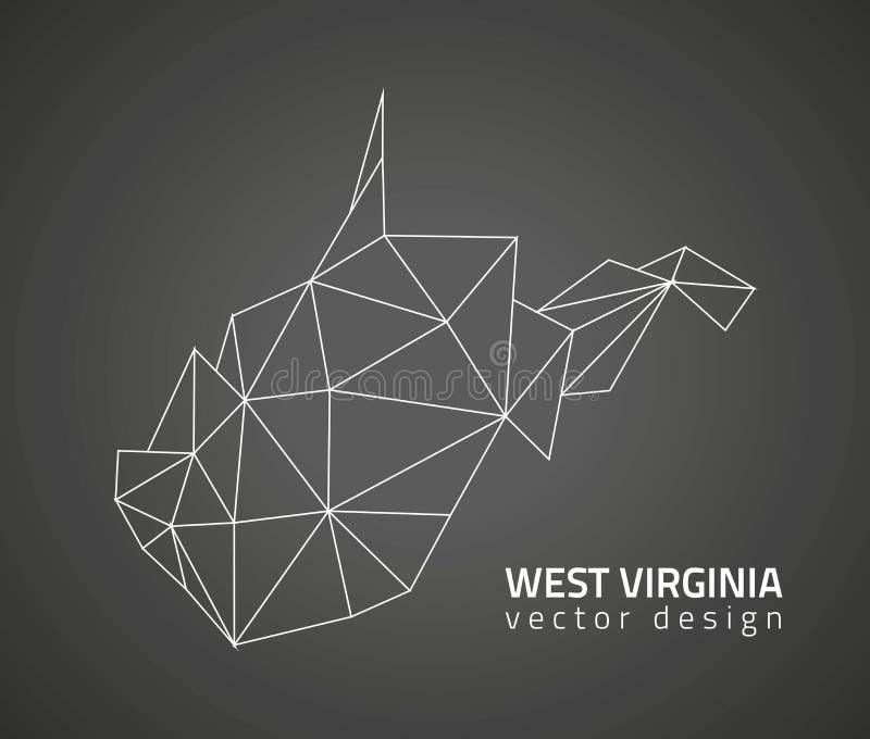 Mapa do esboço do mosaico do triângulo do vetor do preto de West Virginia ilustração stock