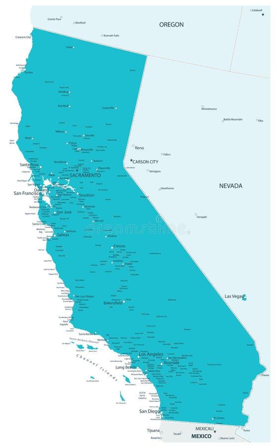 Mapa do estado Aqua Colors de Califórnia ilustração stock