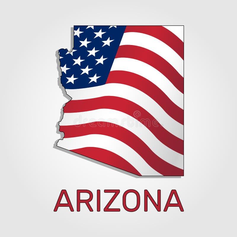 Mapa do estado do Arizona em combinação com a que acena a bandeira do Estados Unidos - vetor ilustração royalty free