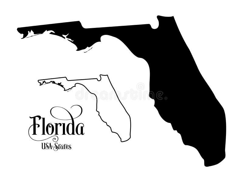 Mapa do estado da Flórida dos EUA do Estados Unidos da América - ilustração no fundo branco ilustração stock