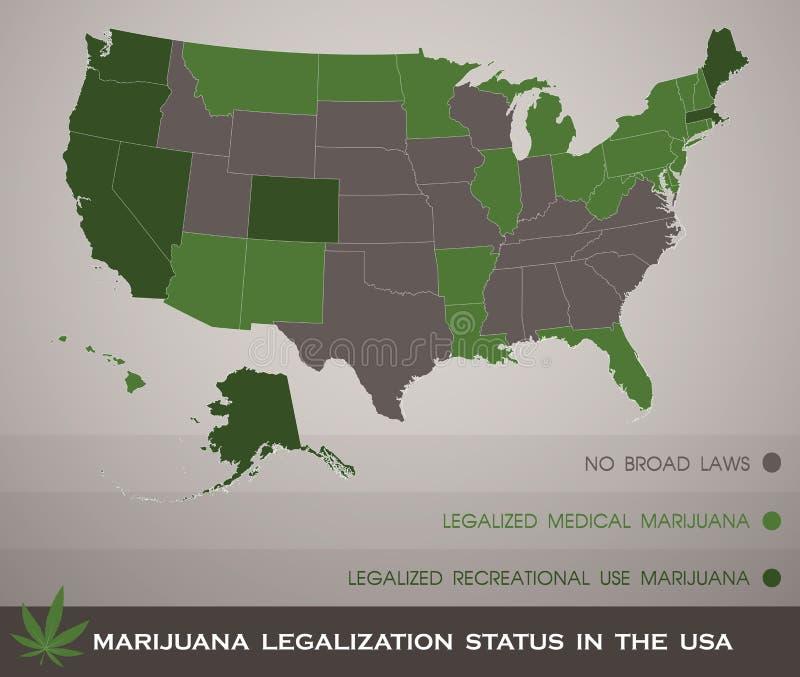 Mapa do estado da legalização da marijuana nos EUA infographic ilustração stock