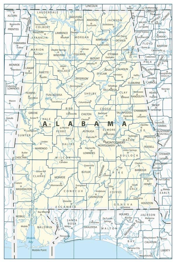 Mapa do estado de Alabama ilustração royalty free
