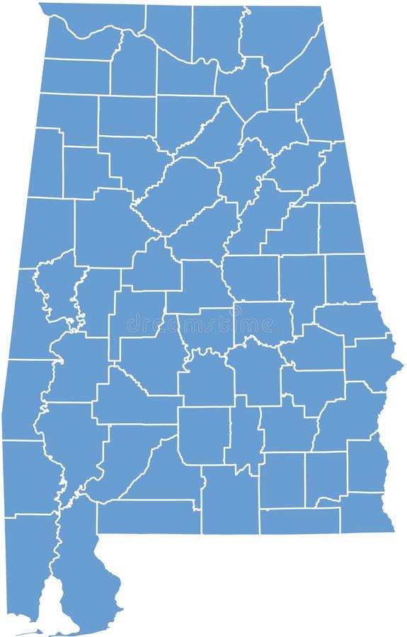 Mapa do estado de Alabama por condados ilustração royalty free