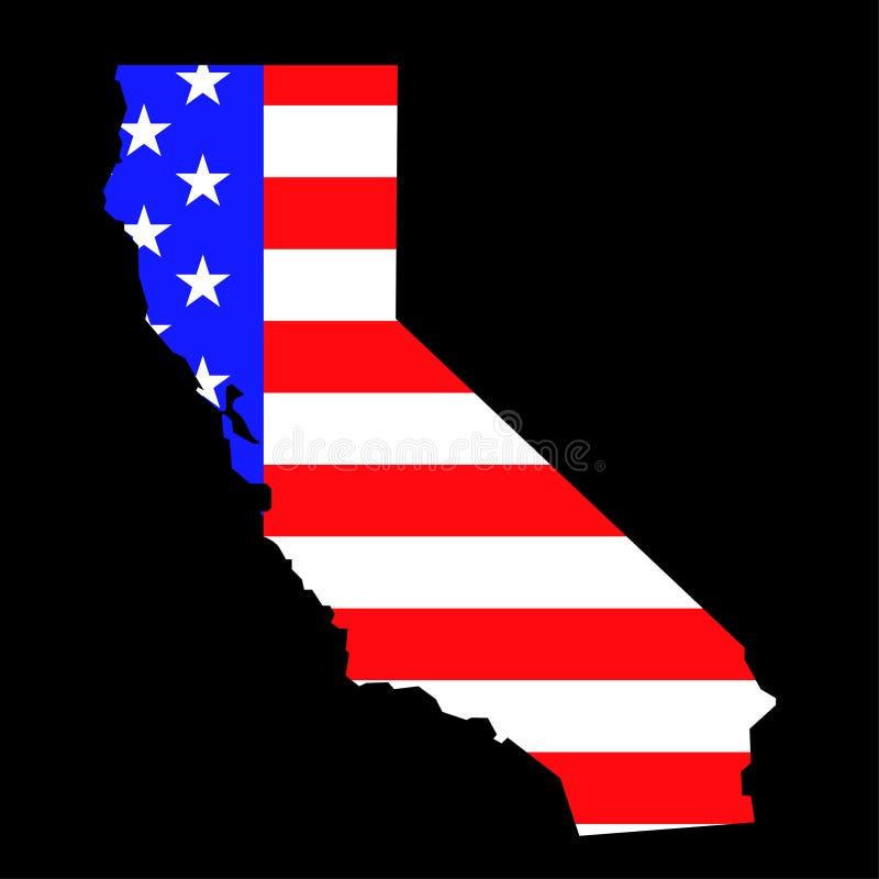 Mapa do estado de Califórnia com a bandeira nacional americana ilustração royalty free
