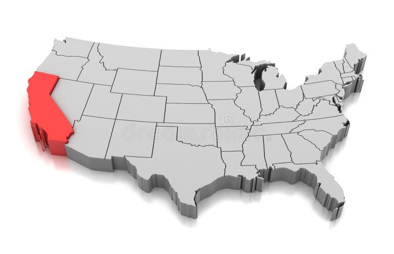 Mapa do estado de Califórnia, EUA ilustração royalty free