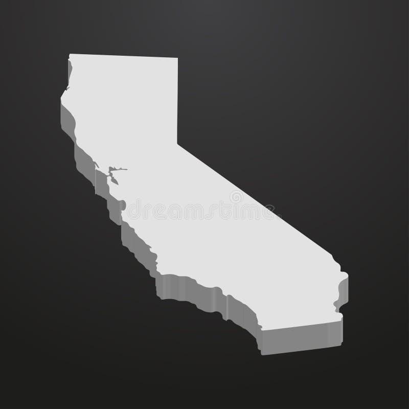 Mapa do estado de Califórnia no cinza em um fundo preto 3d ilustração do vetor