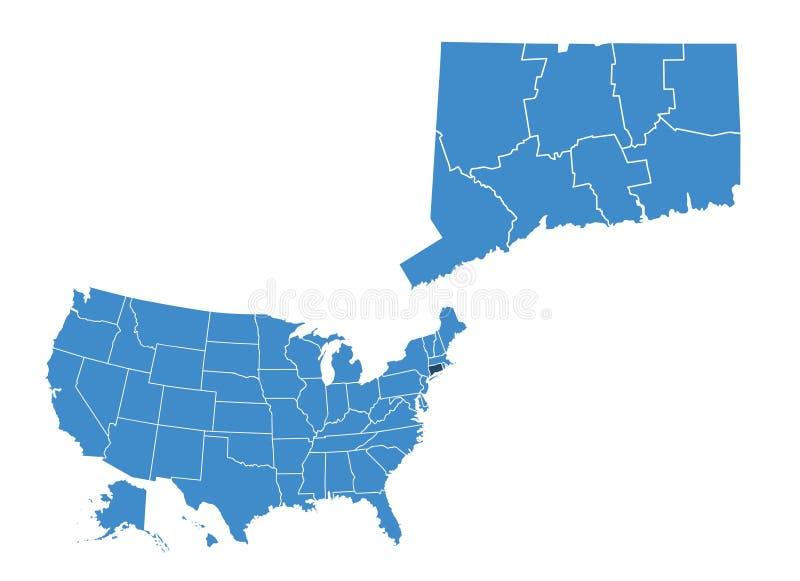 Mapa do estado de Connecticut ilustração stock