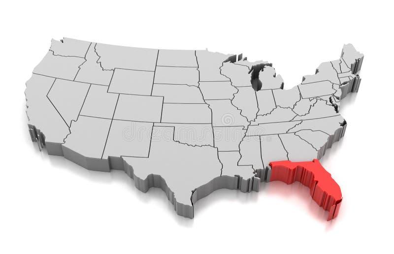 Mapa do estado de Florida, EUA ilustração royalty free
