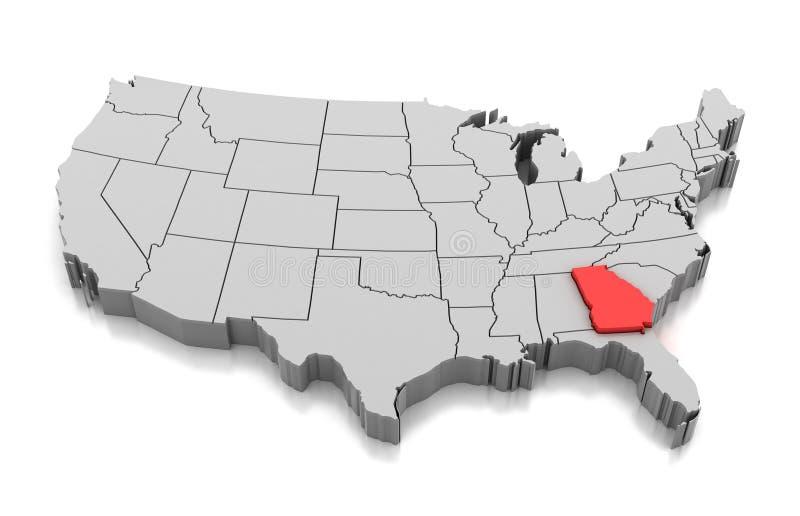 Mapa do estado de Geórgia, EUA ilustração stock