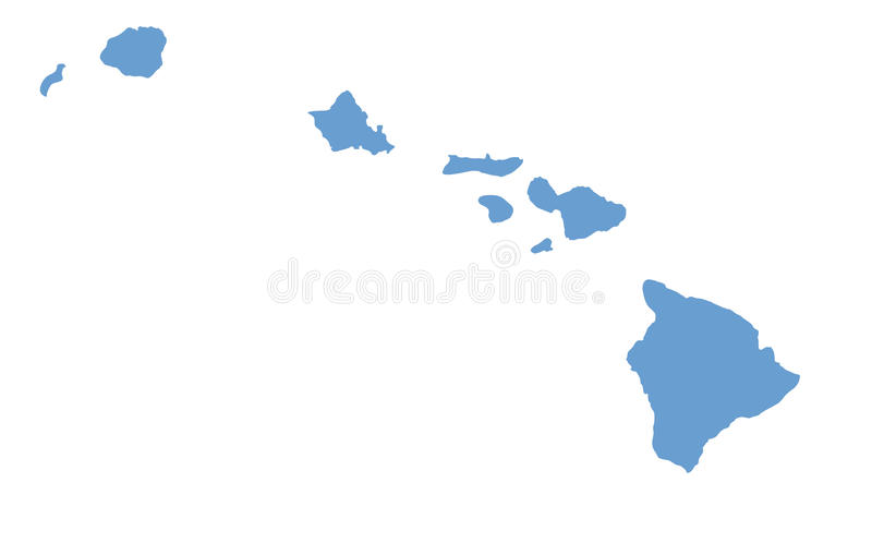 Mapa do estado de Havaí por condados