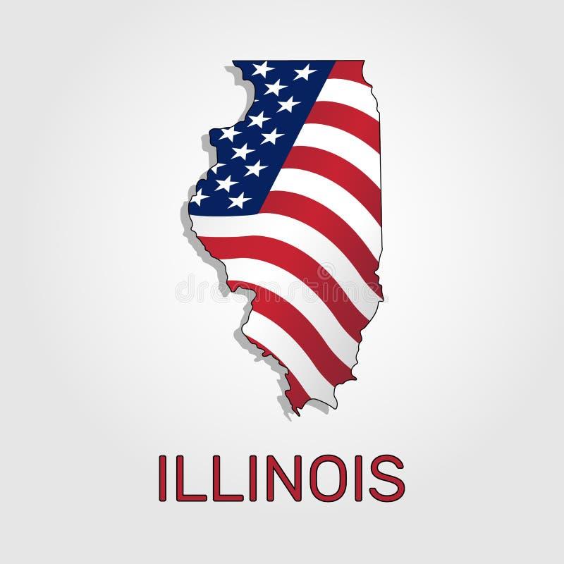 Mapa do estado de Illinois em combinação com a que acena a bandeira do Estados Unidos - vetor ilustração do vetor