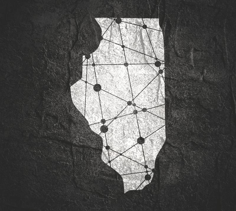 Mapa do estado de Illinois por condados foto de stock