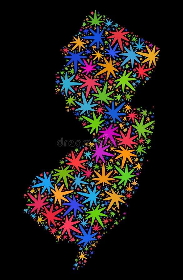Mapa do estado de New-jersey do mosaico das folhas coloridas do cannabis ilustração do vetor