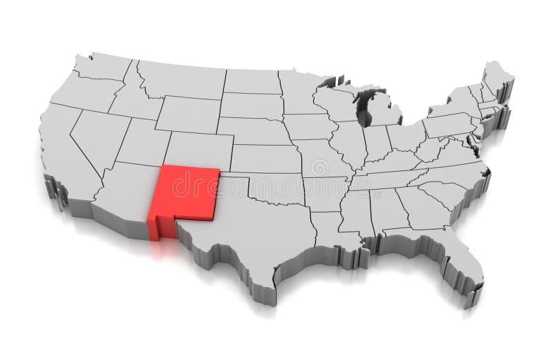 Mapa do estado de New mexico, EUA ilustração royalty free