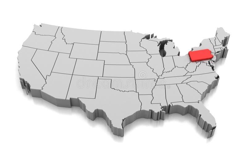Mapa do estado de Pensilvânia, EUA ilustração royalty free