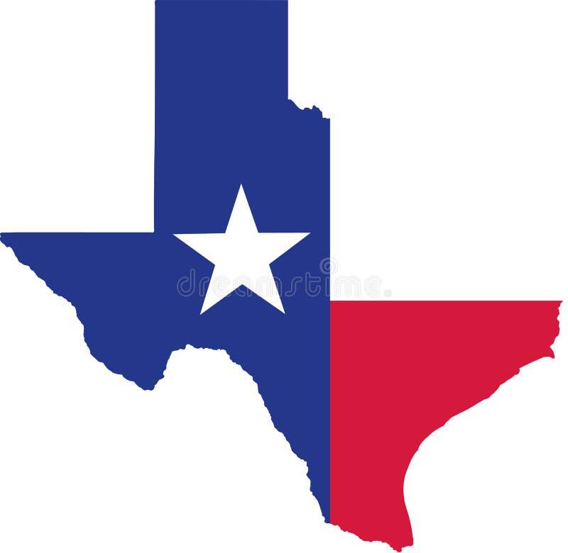 Mapa do estado de Texas com bandeira ilustração stock