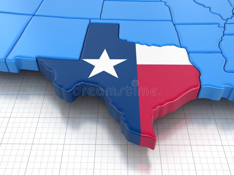 Mapa do estado de Texas com bandeira ilustração royalty free